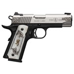 Browning 1911- 380 Auto, Black Label Medallion Engraved Stainless Steel, White Pearl Grips