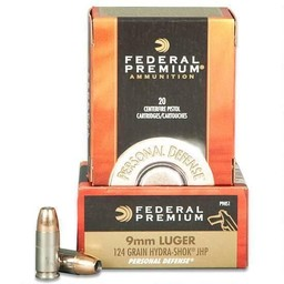 Federal Premium Federal Premium Personal Defense 9mm Luger 124 Grain Hydro-Shok JHP  (20-Rounds)