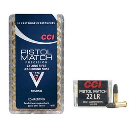 CCI CCI Pistol Match Competition .22LR 40 Grain Lead Round Nose 1070FPS (50-Rounds)