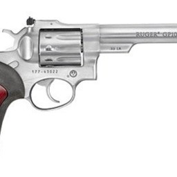 """Ruger GP100 22LR Stainless 5.5"""" Barrel Rubber Grips w/ Wood Inlay"""