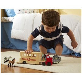 Melissa & Doug Horse Carrier Wooden Vehicles Play Set