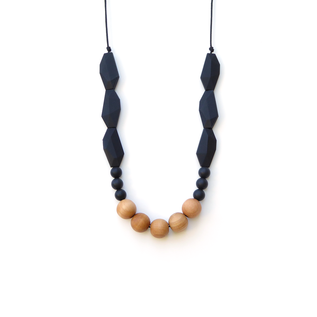 Loulou Lollipop Joan Wood and Silicone Necklace Midnight Black