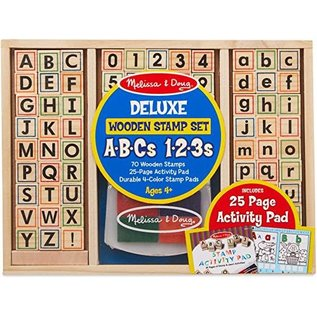 Melissa & Doug Deluxe Wooden Stamp Set - ABCs & 123s
