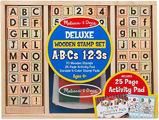 Deluxe Wooden Stamp Set Abcs 123s