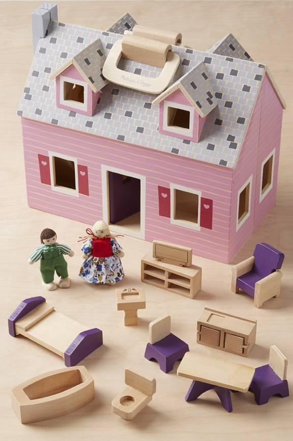 Melissa Doug Wooden Fold Go Mini Dollhouse