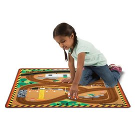 Melissa & Doug Round the Construction Zone Work Site Rug & Vehicle Set
