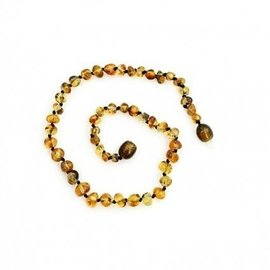 Healing Amber Baltic Amber Necklace - Teen & Adult 17.5 Raw Olive Round