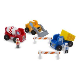 Melissa & Doug Classic Wooden Toy Construction Vehicle Set