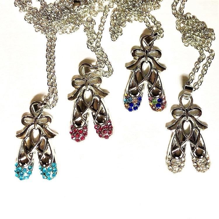 Rhinestone Ballet Slippers Necklace