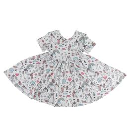 Mila & Rose Short Sleeve Unicorn Rainbow Twirl Dress
