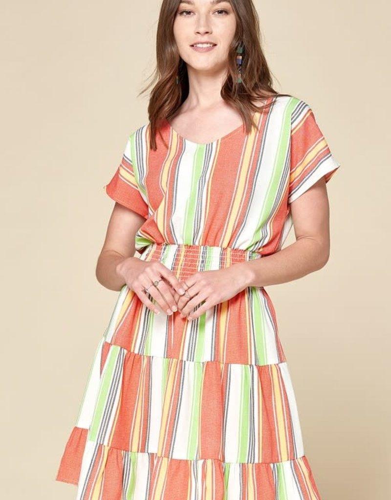 Oddi D20855 Stripe Linen Short Sleeve Dress