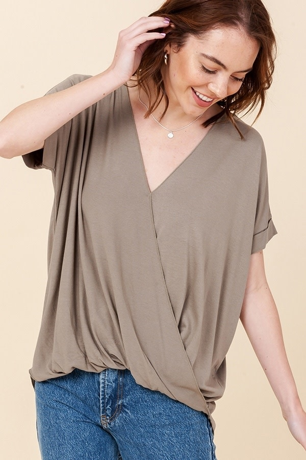 Double Zero Surplice Front Top with Roll Up Sleeve