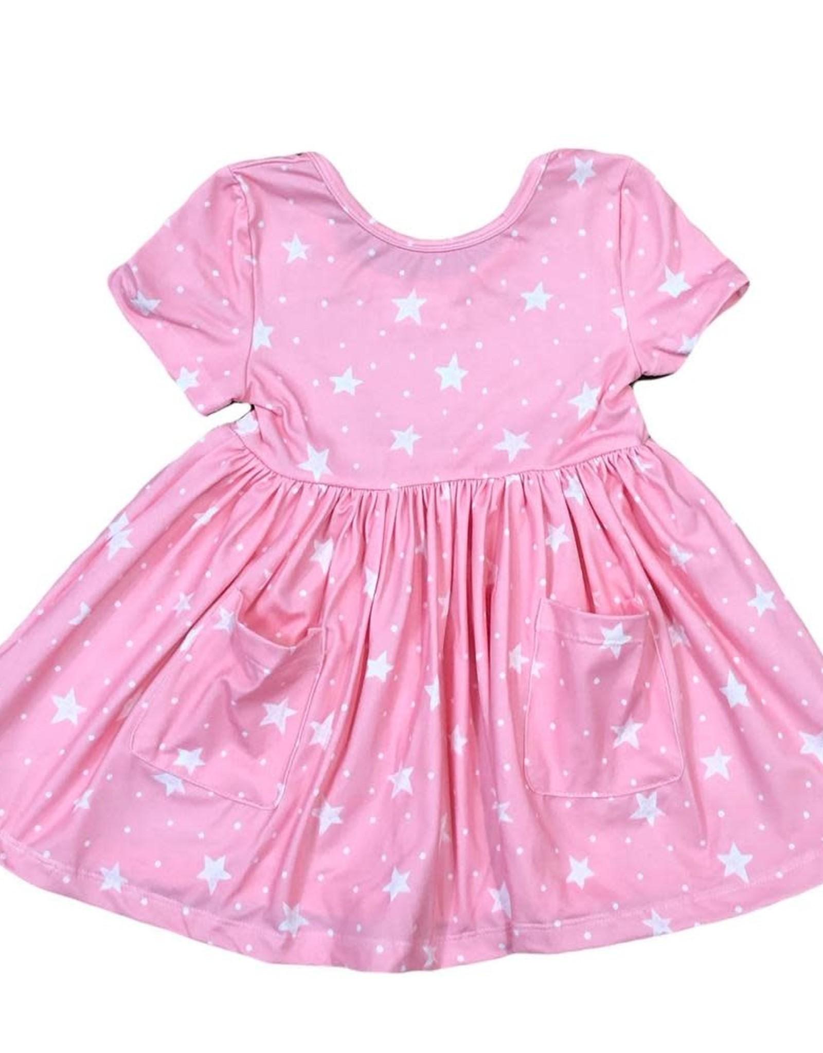 Mila & Rose Pink Star S/S Pocket Twirl Dress