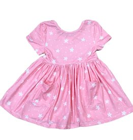Mila & Rose Pink Star S/S Pocket Twirl Dress