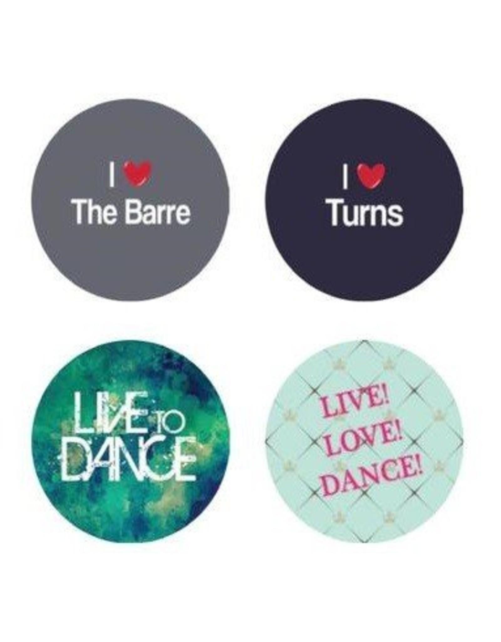 "B+ Printworks 100CC24 1"" Button - I Love the Barre"