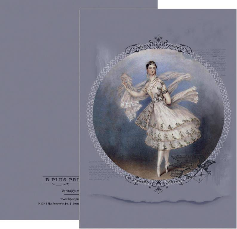 B+ Printworks 203VIN01 Card - Marie Taglioni / Letter