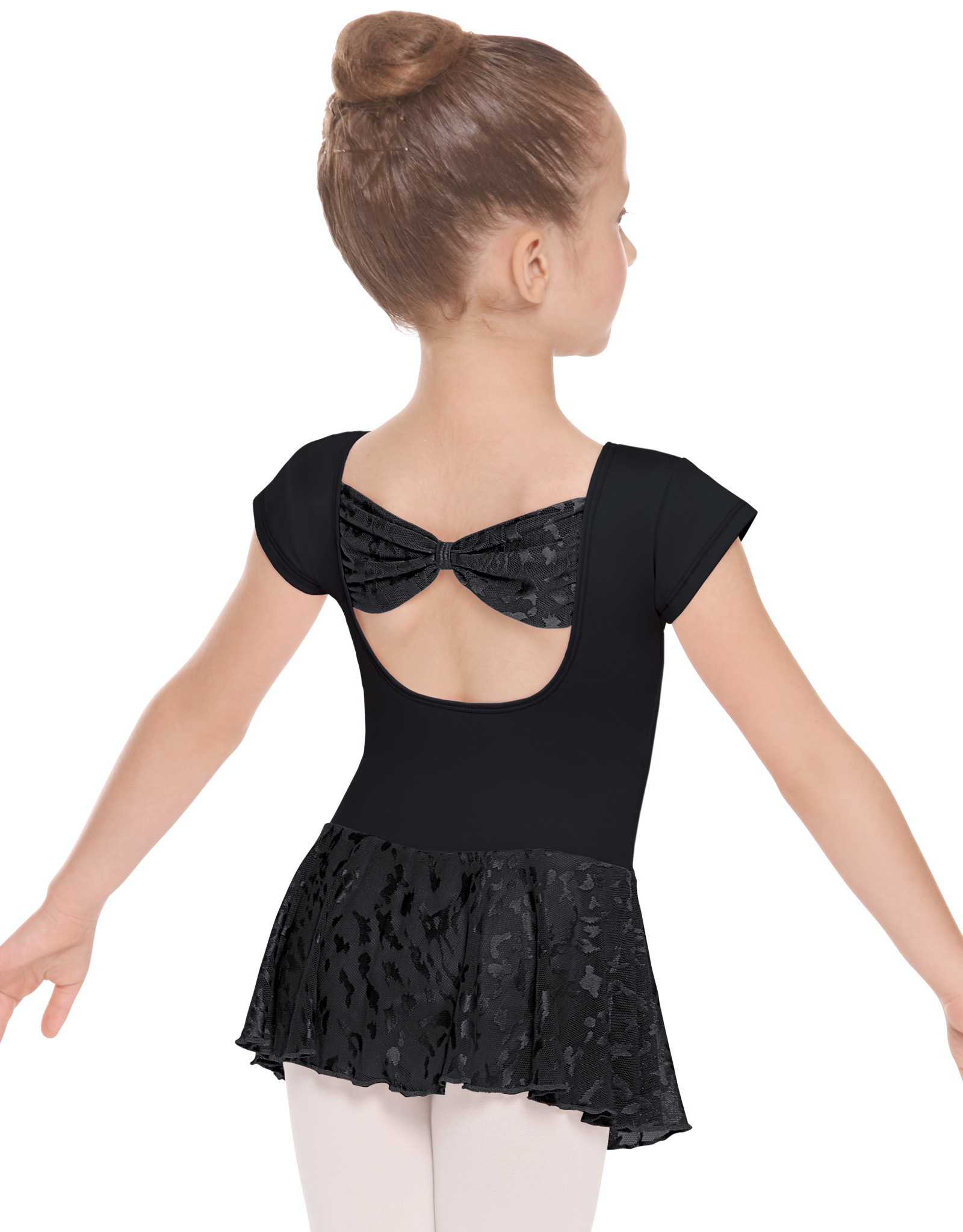 Eurotard 78285 Girls Mesh Bow Back Short Sleeve Dance Dress