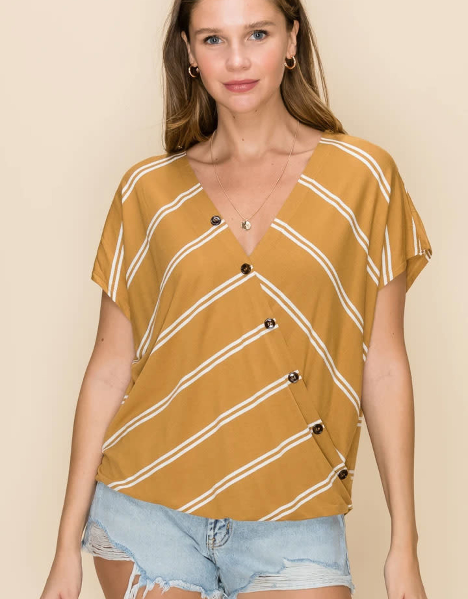 HYFVE Crossover V Neck with Horn Button Top