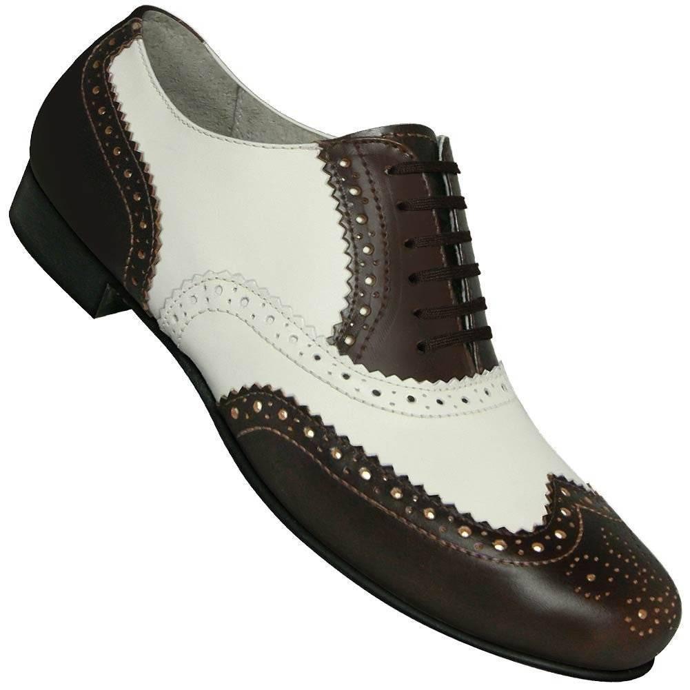 Aris Allen 440 Aris Allen Men's 1930s Black and White Spectator Wingtip Dance Shoe