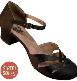 Aris Allen 80771 Aris Allen Women's Black 1920s Satin d'Orsay Shoes with Street Soles