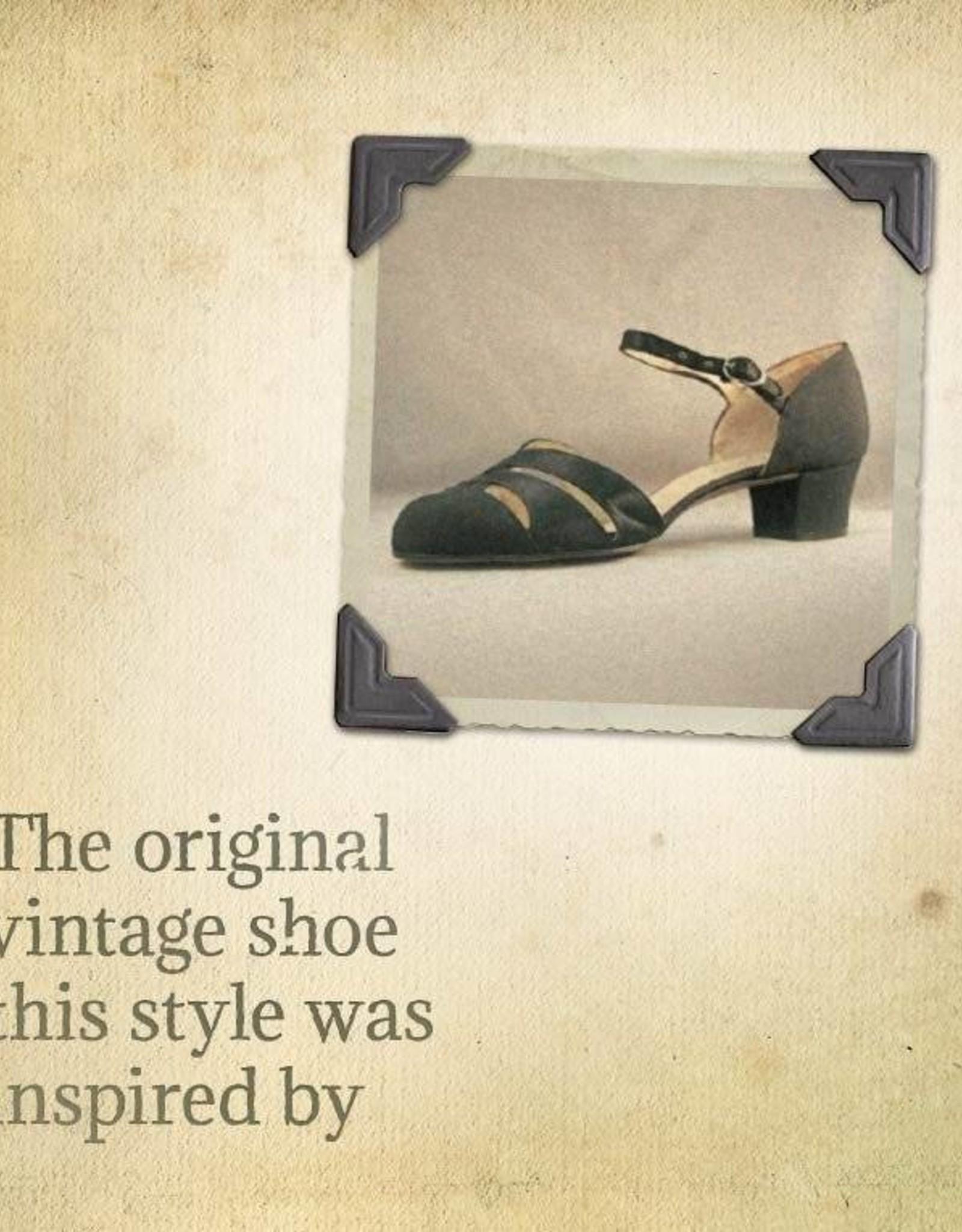 Aris Allen 80771 Aris Allen Women's Black 1920s Satin d'Orsay Shoes with Street Soles
