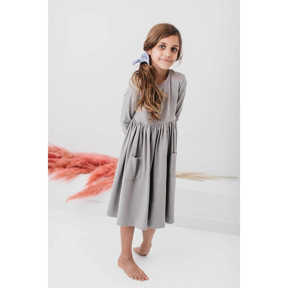 Mila & Rose Gray 3/4 Sleeve Pocket Twirl Dress