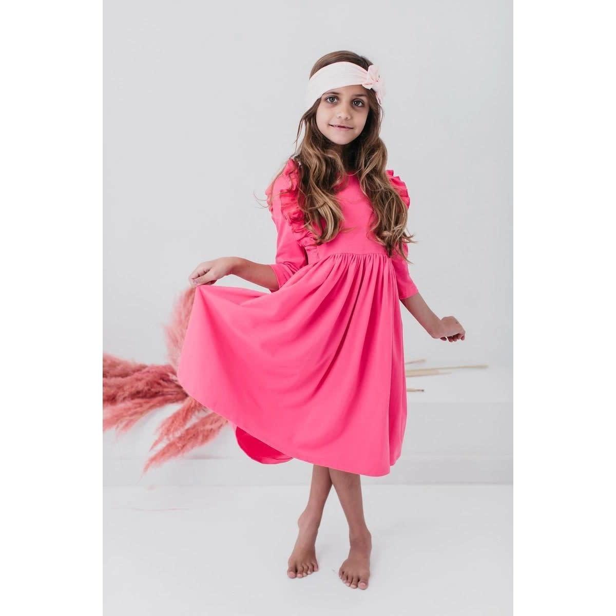 Mila & Rose Hot Pink Ruffle Twirl Dress