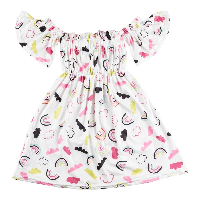 Mila & Rose Rainbow Cloud Off the Shoulder Dress