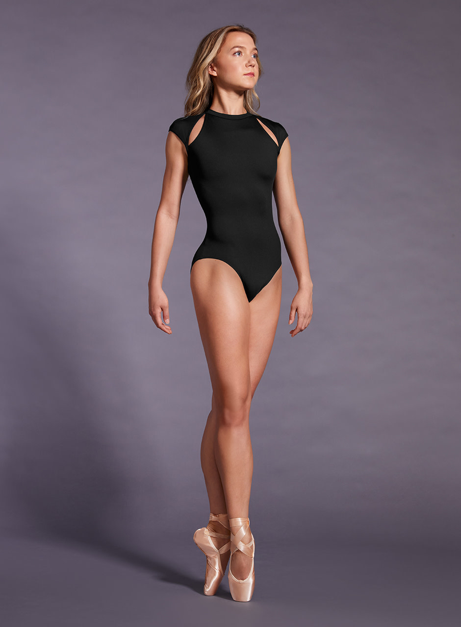 Mirella Mirella Black Label Cap Sleeve Open Back Leotard