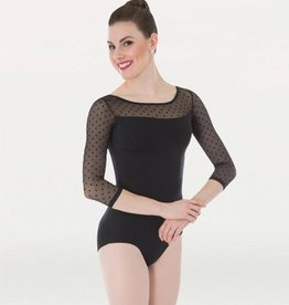 Body Wrappers P1042 Adult Dotted 3/4 Sleeve Leotard