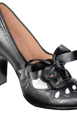 Aris Allen 8072 Women's 1930s Black and Silver Lace-up Heeled Oxford Shoes