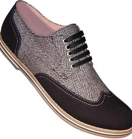 Aris Allen 660 Black & Herringbone Canvas Wingtip