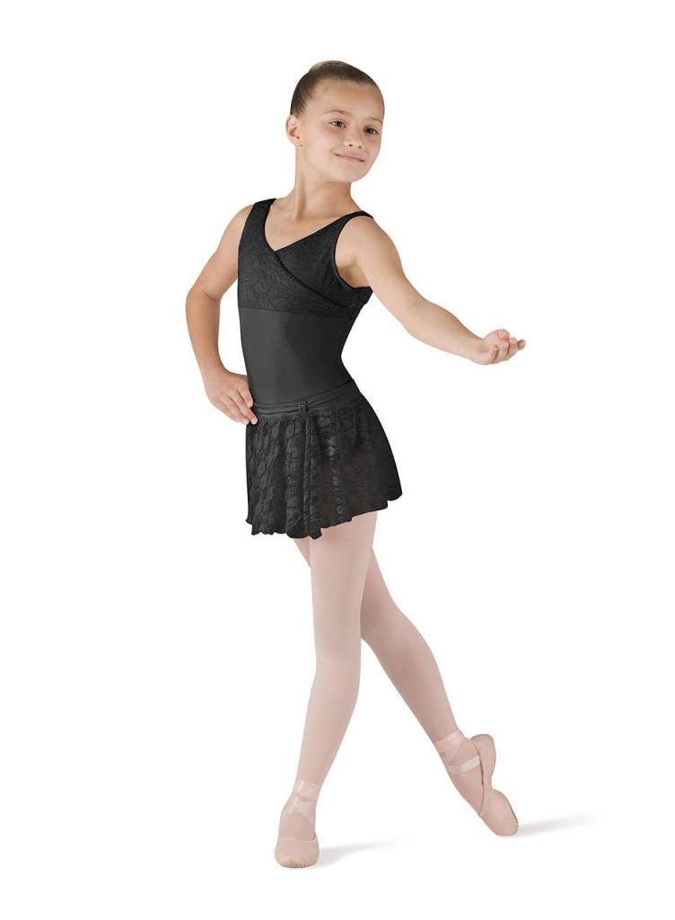 Bloch CR9031 Front Tab Lace Skirt - Black 6x-7