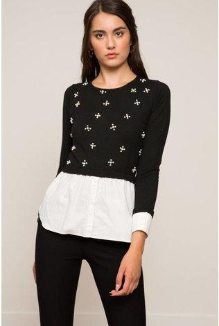 Lucy Paris Jade Beaded Layered Sweater