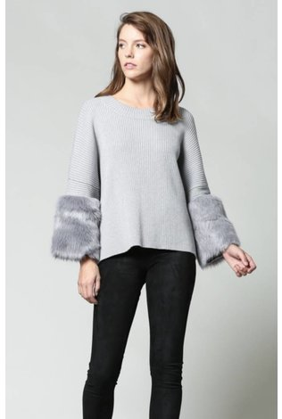 FATE Fur Sleeve Sweater