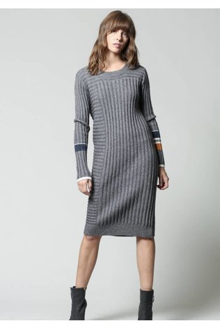 FATE Color Block Sleeve Knit Dress