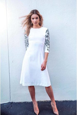 Ellie Makir Beaded Sleeve Dress