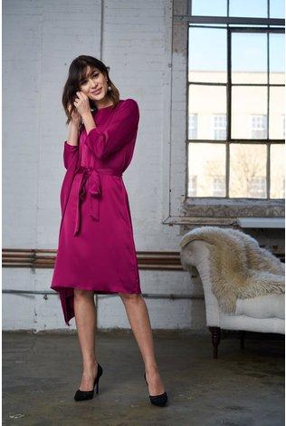 Apparalel Charmuse Silk Dress Fuschia