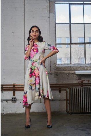 Apparalel Asymmetrical Print Dress Floral
