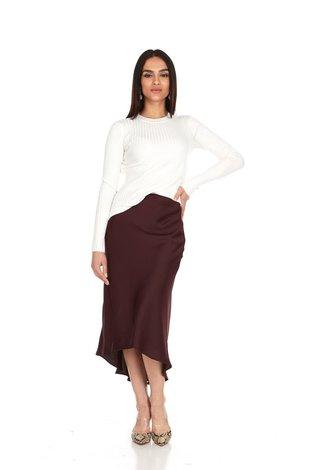 Bella Donna Hi Low Satin Skirt Plum