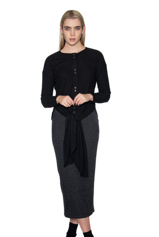 Ricciel Ribbed Tie Top Black