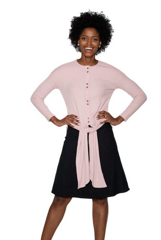 Ricciel Ribbed Tie Top Pink