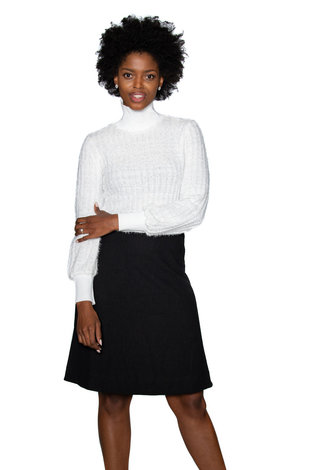 Ricciel Fuzzy Turtleneck Sweater White