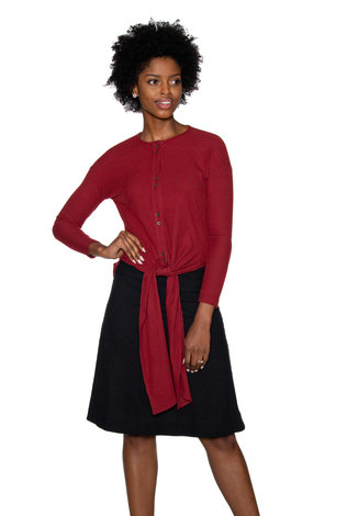 Ricciel Ribbed Tie Top Red