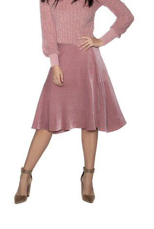 Ricciel Velvet Pleated Skirt Pink