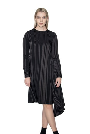 Ricciel Silk Pleated Side Dress Black