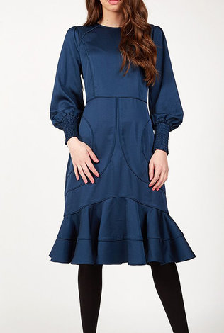 Maple and Cliff Baloon Sleeve Peplum Dress