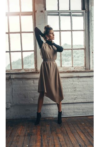 Ellie Makir V Neck Hi Low Dress Camel