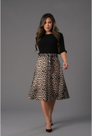 Front Row Couture Leopard A Line Skirt
