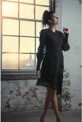 Ellie Makir Asymmetrical Lace Dress